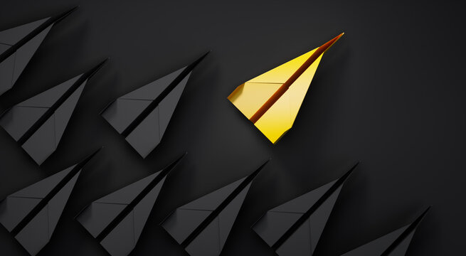 Group of black paper airplanes with golden leader plane