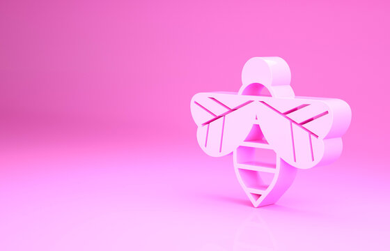 Pink Bee icon isolated on pink background. Sweet natural food. Honeybee or apis with wings symbol. Flying insect. Minimalism concept. 3d illustration 3D render