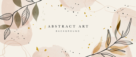 Fototapeta Abstract art botanical background vector . Luxury wallpaper design with women face, leaf, flower and tree  with earth tone watercolor and gold glitter. Minimal Design for text, packaging and prints. obraz