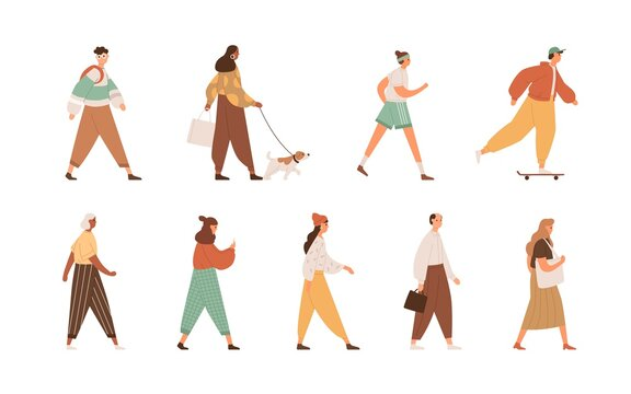 Set of diverse people walking, going, running, strolling with dog. Different men and women's full-length profiles. Colored flat vector illustration of pedestrians isolated on white background