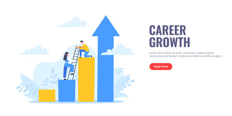 Business mentor helps to improve career and holding stairs steps vector illustration. Mentorship, upskills, climb help and self development strategy flat style design business concept. - fototapety na wymiar