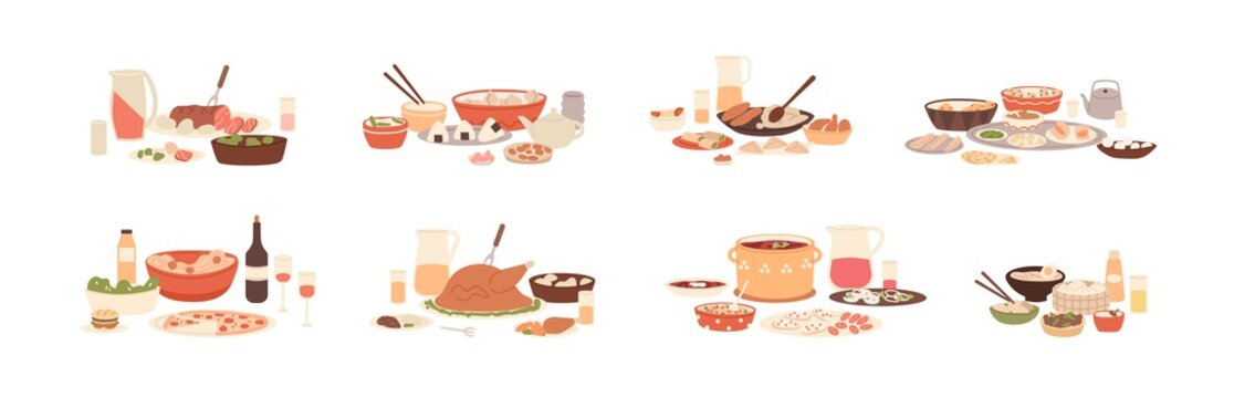 Set of national food for festive dinners. Traditional meals of diverse cuisines. American, Arab, Asian, Italian, Russian holiday dishes. Colored flat vector illustration isolated on white background