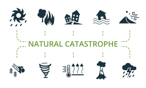 Natural Catastrophe icon set. Contains editable icons natural disaster theme such as earthquake, sandstorm, typhoon and more.
