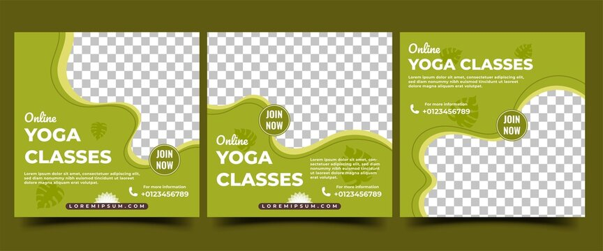 Yoga class social media post template. Modern banner template for international yoga day or yoga class promotion. Suitable for social media, banners, and websites.