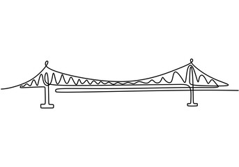 Giant bridge over river. Continuous one line of bridge drawing design. Simple modern minimalist style isolated on white background.