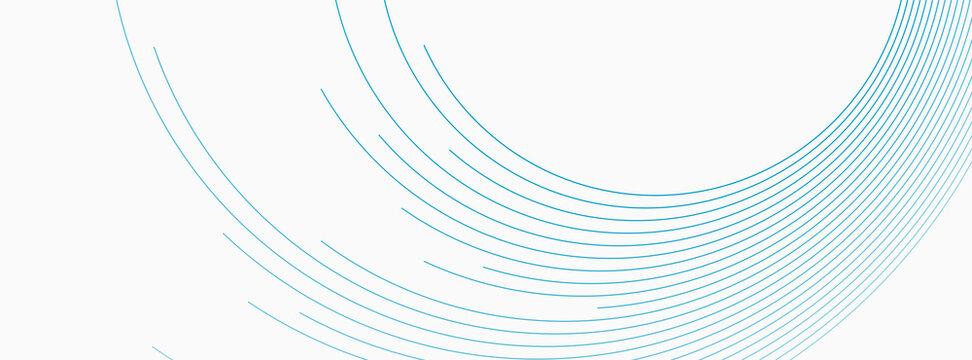 Blue white minimal round lines abstract futuristic tech background. Vector digital art banner design