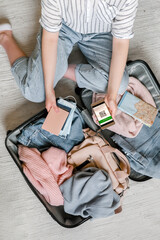Fototapeta Travel. Online travel plans with Covid passport and Covid test. Traveling after quarantine, lockdown, covid 19. Staycation.local travel new normal.Tourism after border opening, quarantine end