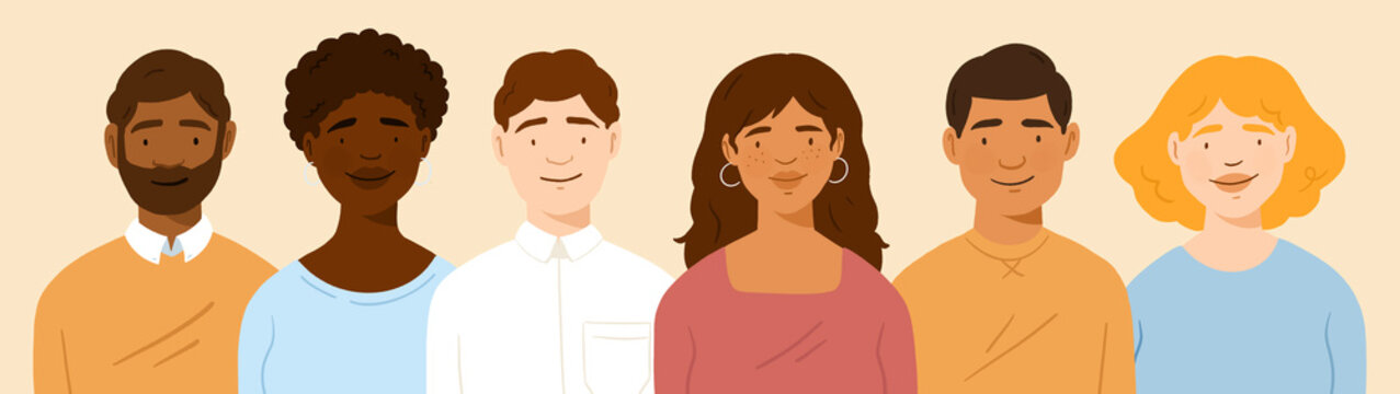 Male and female avatar profils, multicultural coworkers employees, men and women of different colors, group of people