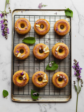 Delicious doughnuts with fresh lemon slices on rack
