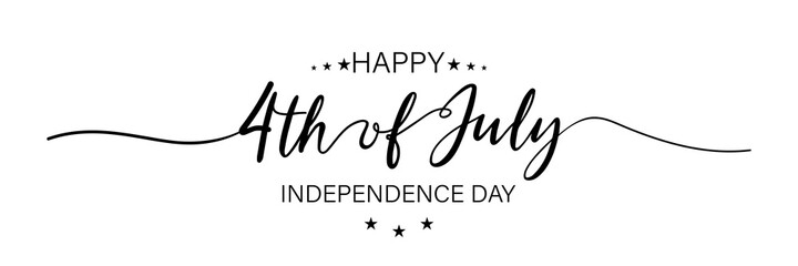 Fototapeta July fourth. Happy independence day. July fourth banner for independence day. Lettering style. Vector obraz