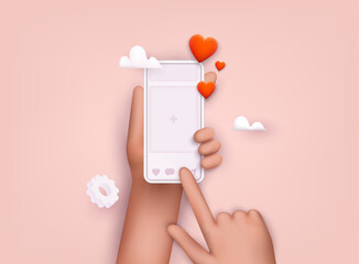 Obraz Hand holding mobile smart phone with social media app. Smartphone with interface post on social network. 3D Web Vector Illustrations. - fototapety do salonu
