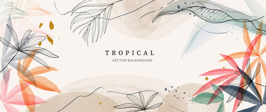 Abstract art gold tropical leaves background vector. Luxury wallpaper with watercolor, tropical leaf framed, palm leaf, flower,Vivid foliage, exotic green and gold brush glitter.