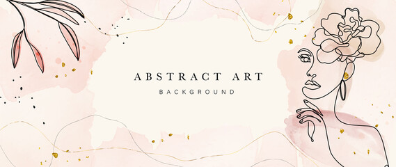 Obraz Abstract art botanical background vector . Luxury wallpaper design with women face, leaf, flower and tree  with earth tone watercolor and gold glitter. Minimal Design for text, packaging and prints. - fototapety do salonu