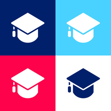 Big Mortarboard blue and red four color minimal icon set