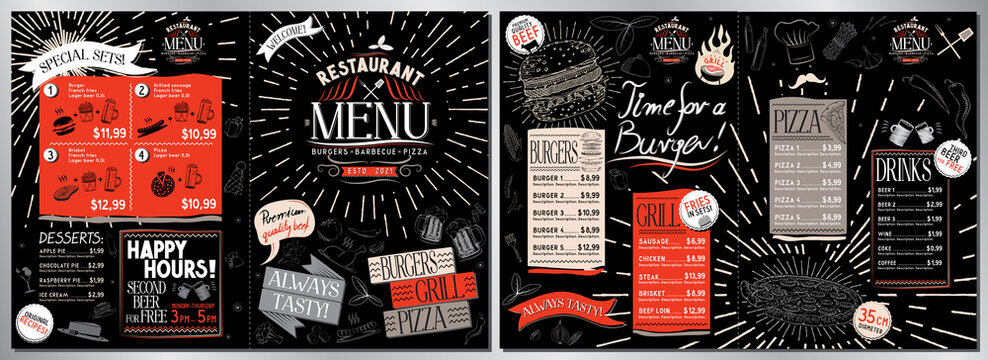 Grill restaurant menu card - A3 to A4 size (burgers, grill, pizza, drinks, desserts, sets)