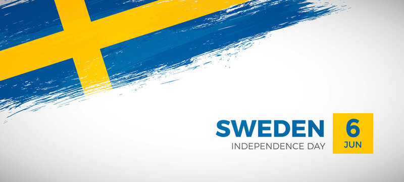 Happy independence day of Sweden with brush painted grunge flag background