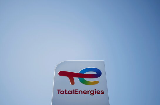 The logo of French oil and gas company TotalEnergies at a petrol station in Treillieres
