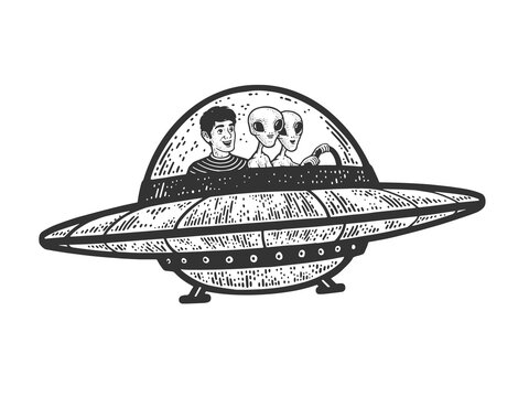 man flies with aliens in UFO flying saucer line art sketch engraving vector illustration. T-shirt apparel print design. Scratch board imitation. Black and white hand drawn image.