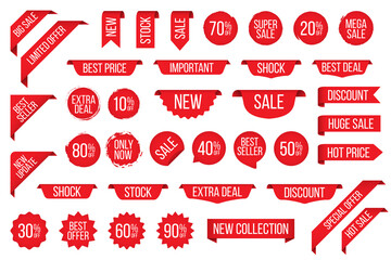 Set of red sale tag sticker badge for promotion - fototapety na wymiar