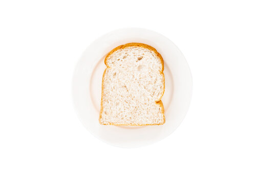 Slice of white bread on white plate. isolated on white background.clipping path