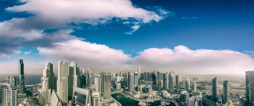 Dubai Marina aerial view at sunset, United Arab Emirates