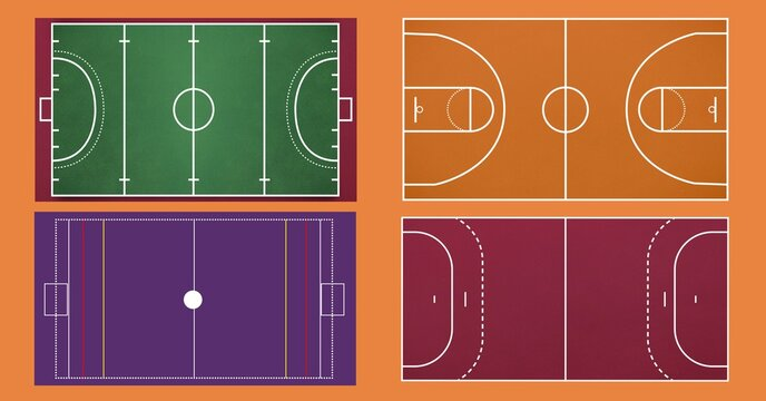 Composition of different sports fields on orange background