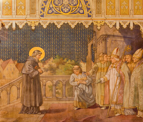 Obraz TRNAVA, SLOVAKIA - OCTOBER 14, 2014: The fresco of the scenes from st. Nicholas live by Leopold Bruckner (1905 - 1906) in St. Nicholas church. - fototapety do salonu