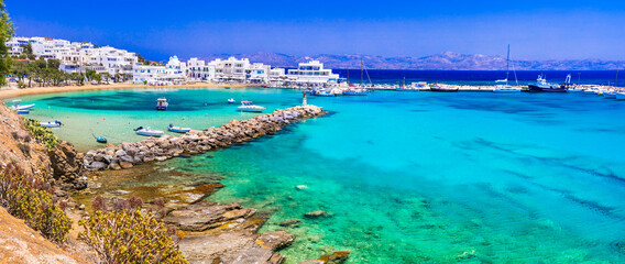 Greece holidays, Cyclades, Paros island beaches and sea. Scenic tranquil coastal village Piso Livadi with turquoise sea