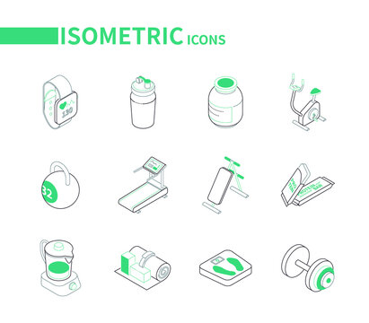 Sport and fitness - line isometric icons set