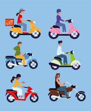 motorcycle riders set