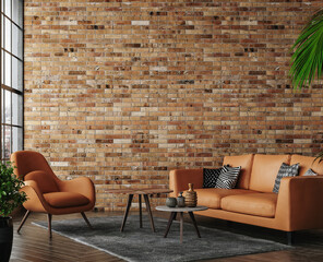 Obraz Living room loft in industrial style ,3d render - fototapety do salonu