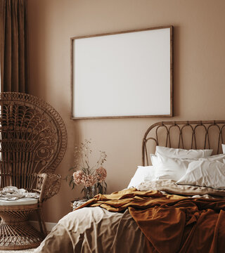 Home interior with ethnic boho decoration, bedroom in brown warm color, 3d render