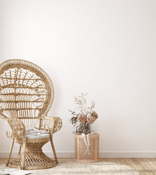 Wall mock up in white simple interior with wooden armchair, farmhouse style, 3d render