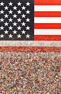 flag of USA and people, concept for we the people, 4th of July, Independence Day