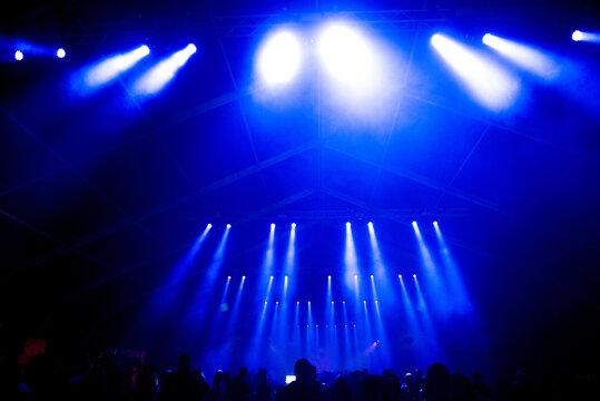 Crowd of people enjoying live concert, blue stage lights