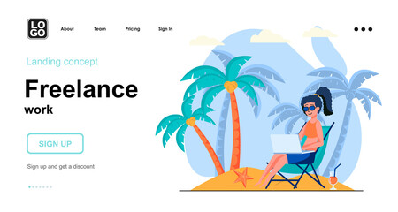 Obraz Freelance work web concept. Woman freelancer working on laptop relaxing on beach. Remote worker. Template of people scene. Vector illustration with character activities in flat design for website - fototapety do salonu
