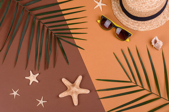 Beach accessories: glasses and hat with shells and sea stars on a colored background. Summer background