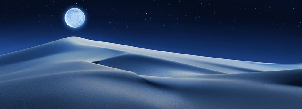 Sand dunes in a desert 3D illustration night landscape with a full moon