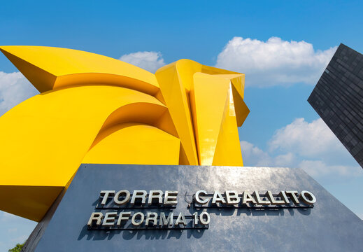 Mexico City, Mexico-10 March, 2021: Landmark El Caballito Monument located near Torre Caballito and Paseo de Reforma avenue in Mexico city