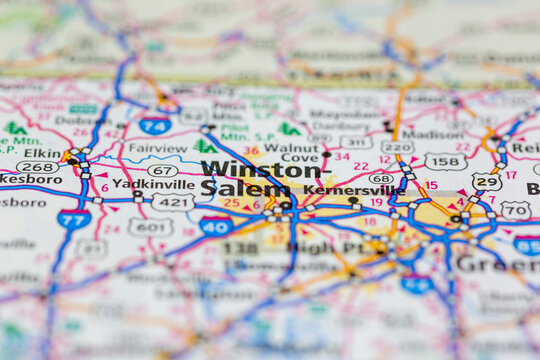 06-08-2021 Portsmouth, Hampshire, UK, Winston-Salem North Carolina USA shown on a Road map or Geography map