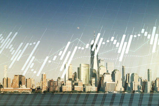 Multi exposure of virtual abstract financial diagram on Manhattan office buildings background, banking and accounting concept