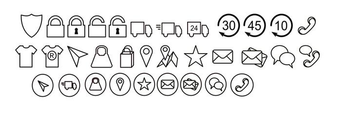 zestaw ikon, tarcza, zamknięty otwarty, dostawa zwrot jakość , lokalizacja, telefon, czat, dostawa - fototapety na wymiar