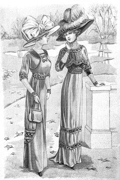 Women wearing vintage elegant dress hat. Antique fashion Paris