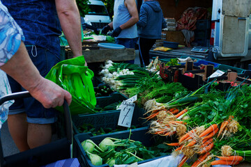 Poland, Warsaw, June 2021. Vegetable market where farmers sell crops straight from their cars. An...