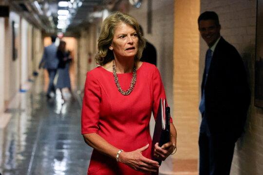 U.S. Senator Murkowski departs after bipartisan work group meeting on infrastructure legislation at the U.S. Capitol in Washington