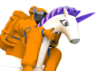 Fototapeta astronaut is riding a inflatable unicorn on white background close up view obraz