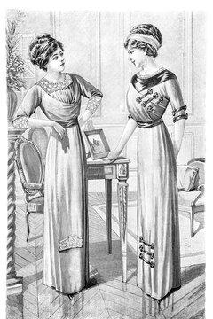 Women retro style edwardian clothing Vintage fashion engraving