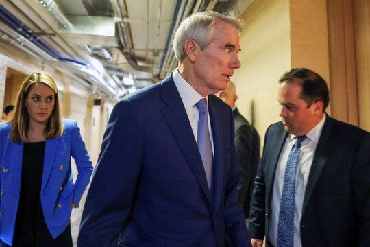 U.S. Senator Portman departs after bipartisan work group meeting on infrastructure legislation at the U.S. Capitol in Washington
