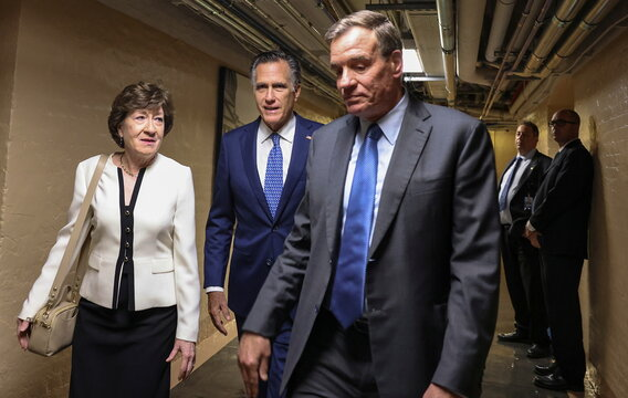 U.S. Senators Susan Collins, Mark Warner and Mitt Romney depart after bipartisan work group meeting on infrastructure legislation at the U.S. Capitol in Washington