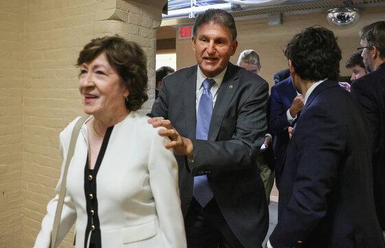 U.S. Senators Susan Collins and Joe Manchin depart after bipartisan work group meeting on infrastructure legislation at the U.S. Capitol in Washington